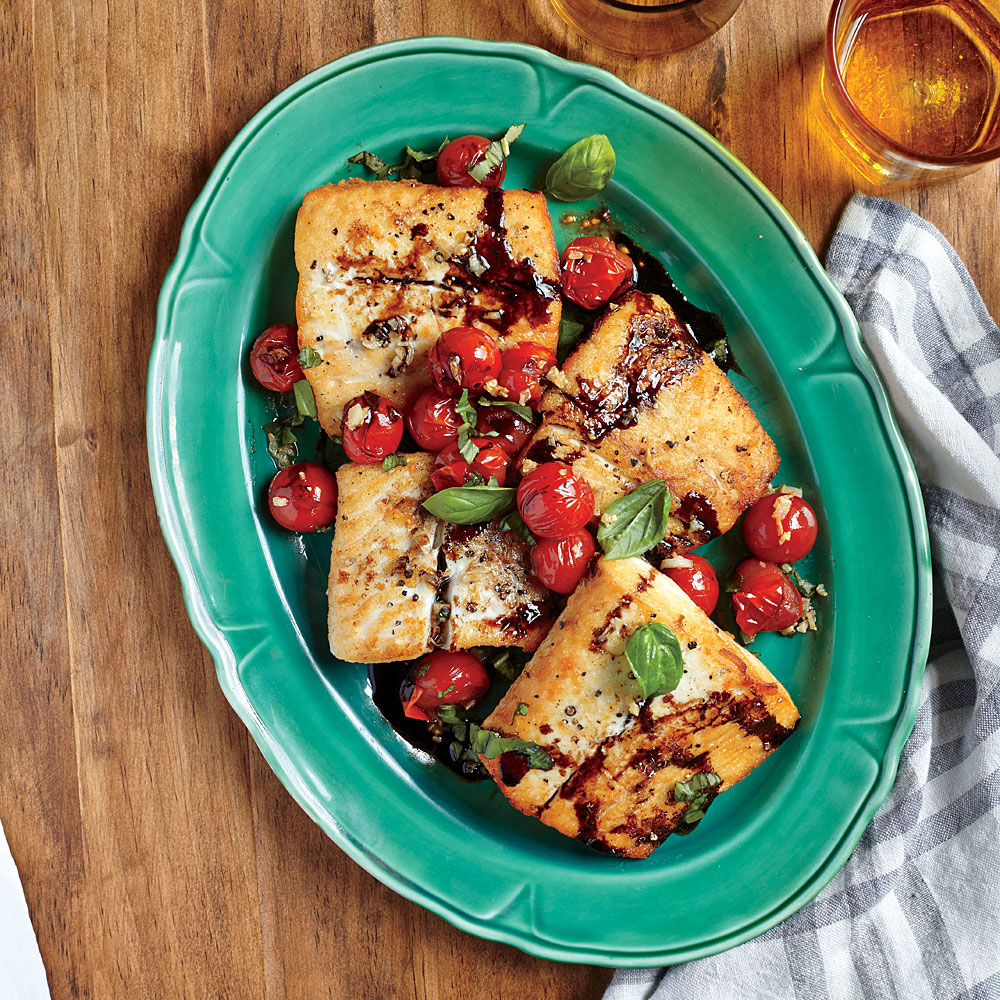 Flétan aux tomates cerises balsamiques
