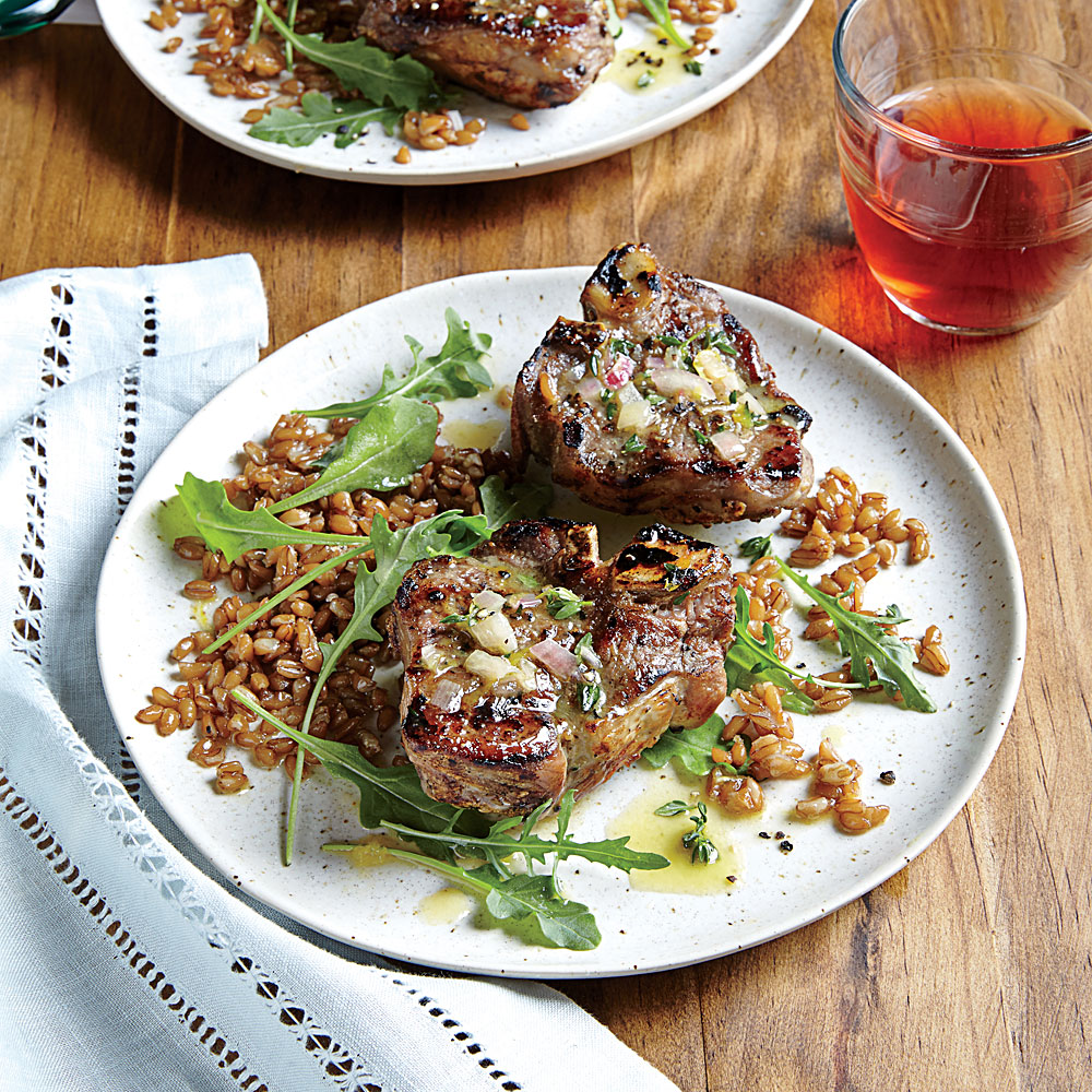 Lamb Chops with Farro, Arugula, and Lemon-Thyme Vinaigrette