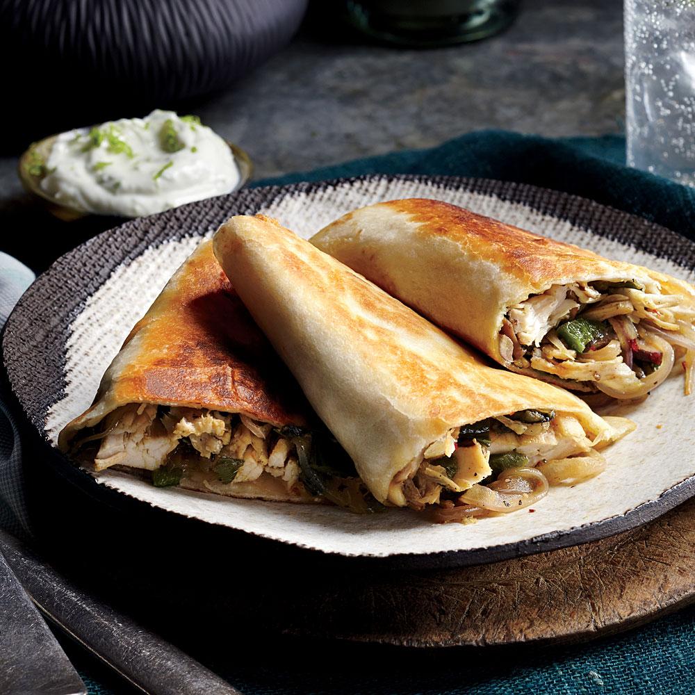 Poblano, Chicken, and Mushroom Quesadillas
