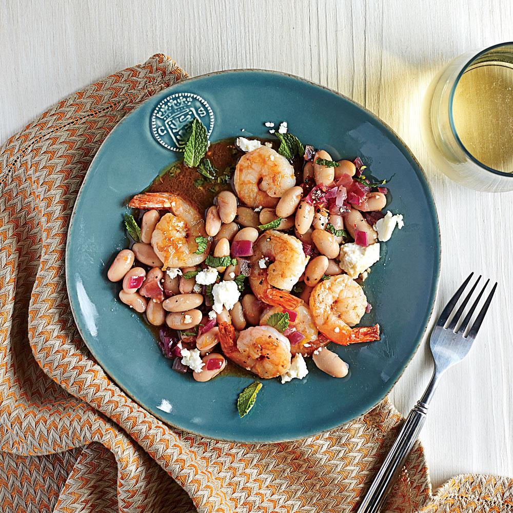 Roasted Shrimp with White Beans and Feta