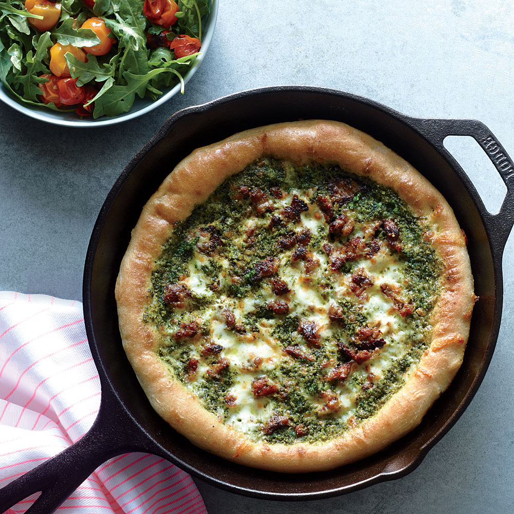 Sausage and Kale Pesto Pizza with Blistered Tomato-Arugula Salad