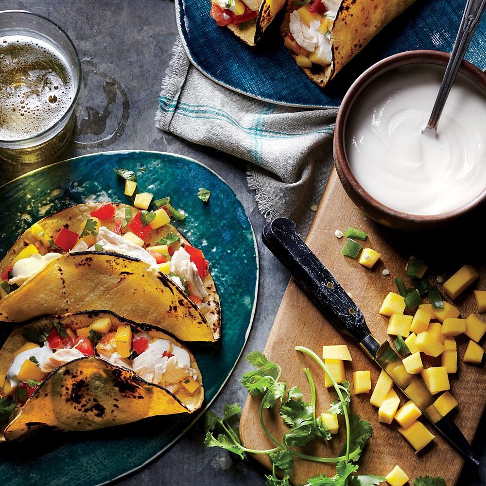 Shredded Chicken Tacos with Mango Salsa