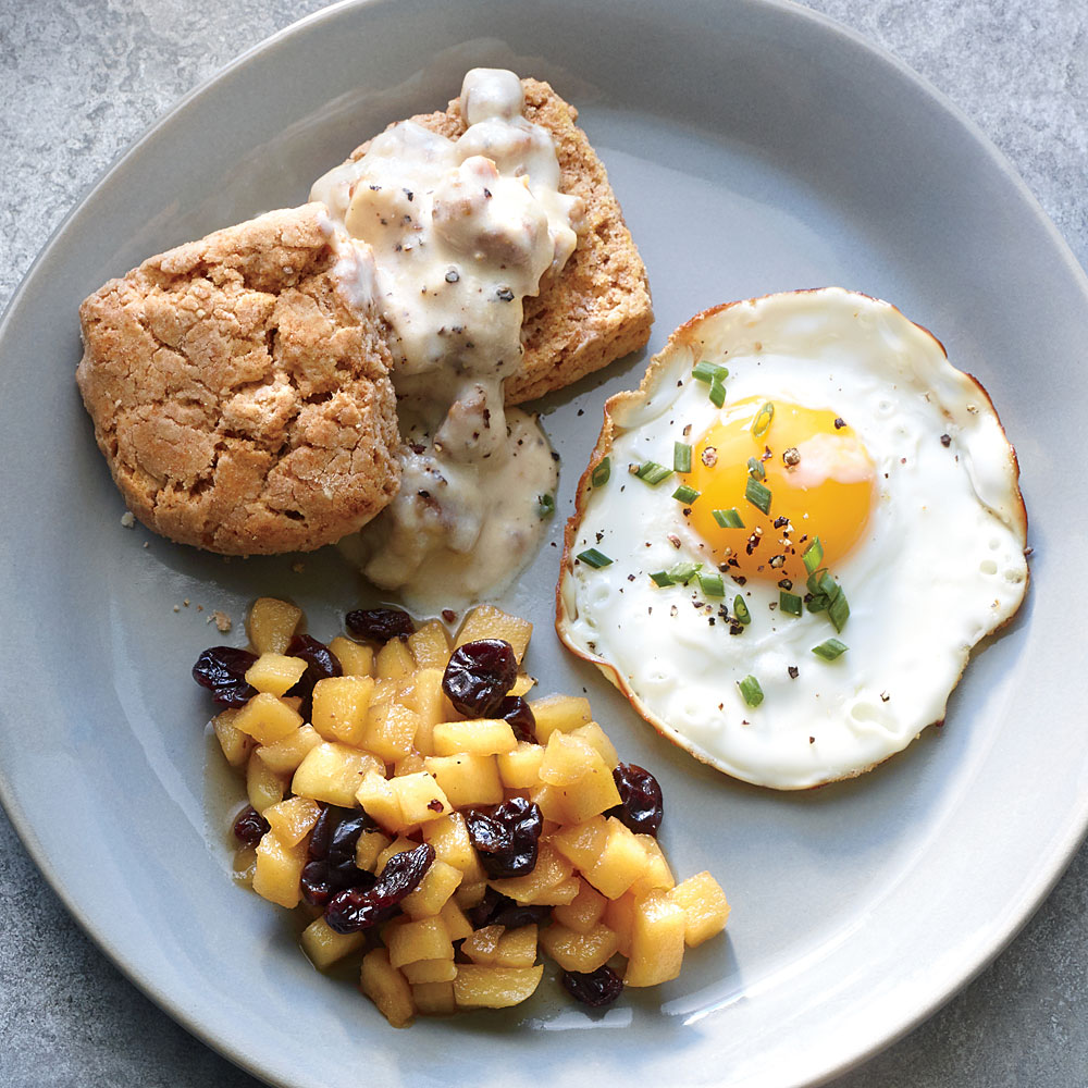Whole-Grain Biscuits with Sausage Gravy and Eggs