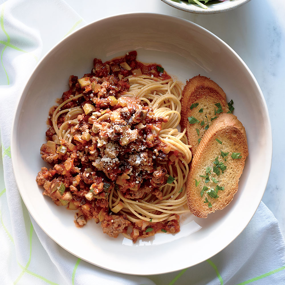 Whole-Grain Spaghetti with Veggi-fied Meat Sauce