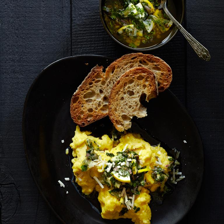 Scrambled Eggs with Meyer Lemon Salsa Verde