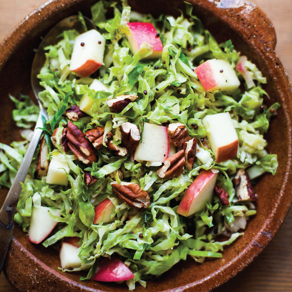 Shredded Brussels Sprouts With Apples and Mustard Seeds