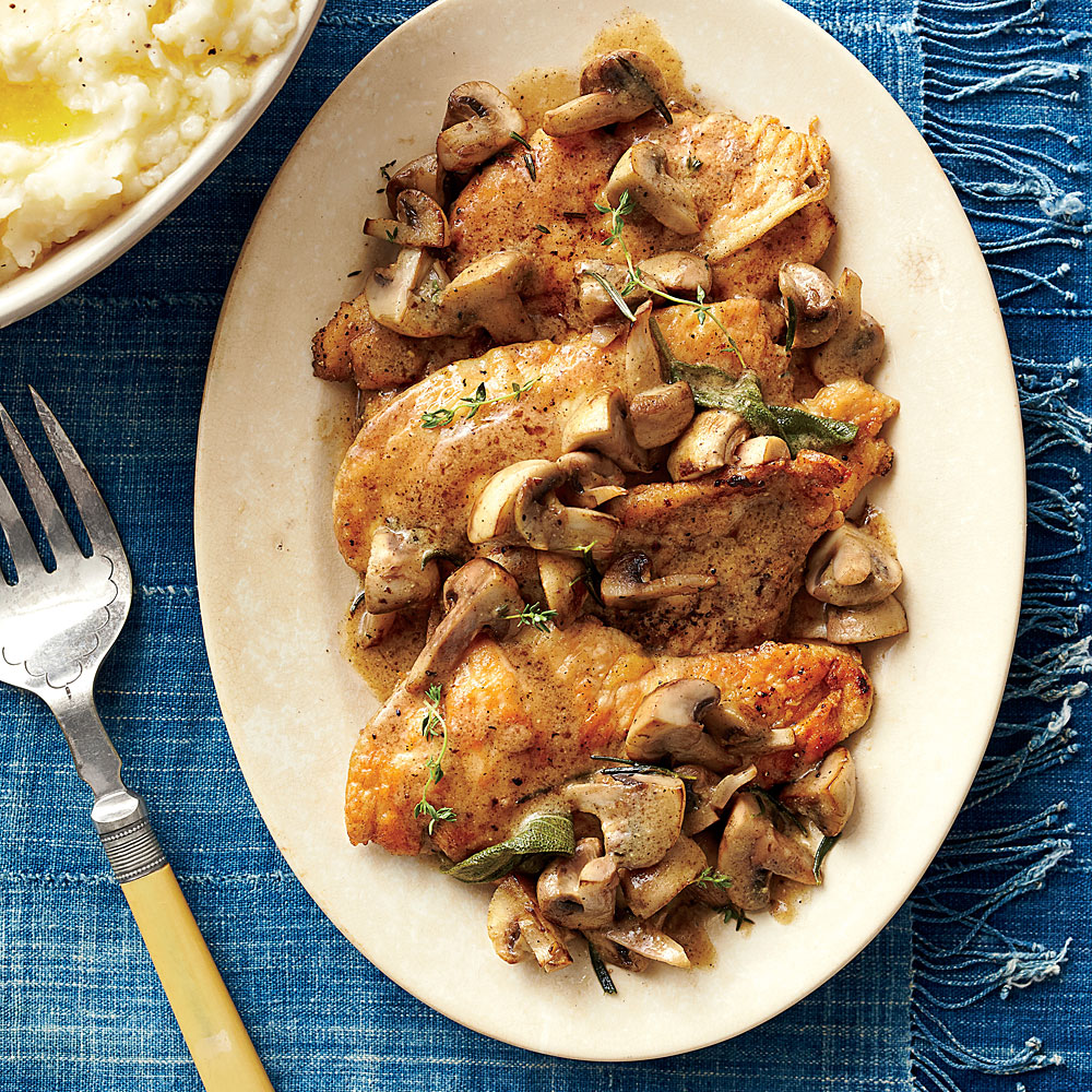 Chicken Cutlets with Herbed Mushroom Sauce