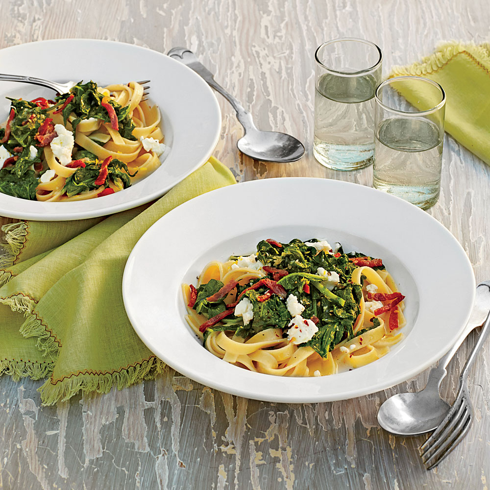 Fettuccine with Smoky Turnip Greens, Lemon, and Goat Cheese
