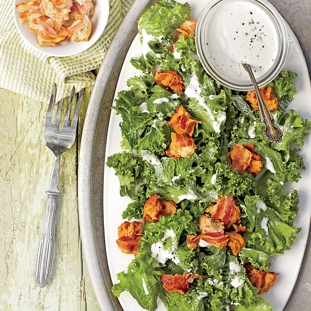 Mustard Greens with Yogurt-Parmesan Dressing and Bacon Croutons