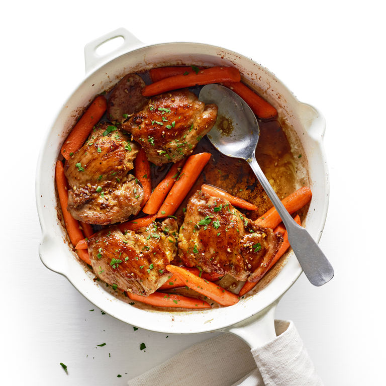Pomegranate Molasses-Glazed Chicken and Carrots Recipe | MyRecipes.com