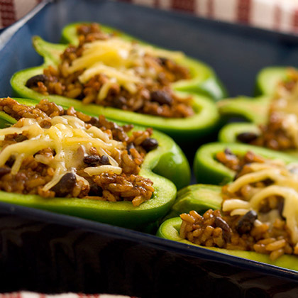 Black Bean and Rice Stuffed Peppers with Jack Cheese
