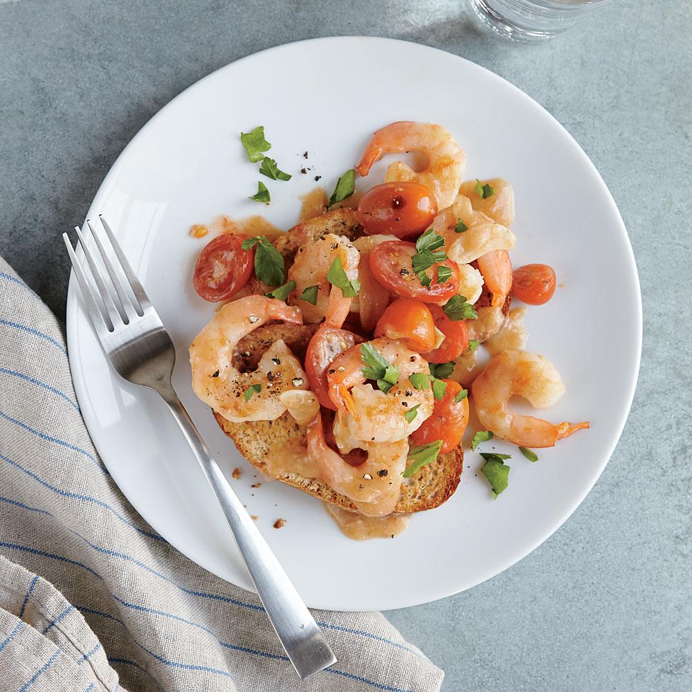 Saucy Shrimp Sauté on Toast