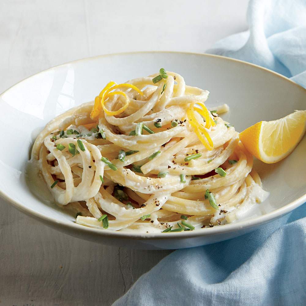 Bucatini with Meyer Lemon Cream and Chives Recipe