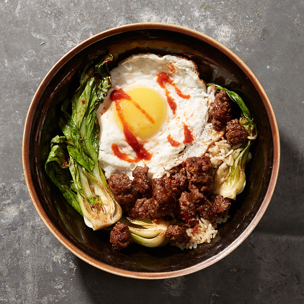 Minced Beef with Bok Choy and Fried Egg