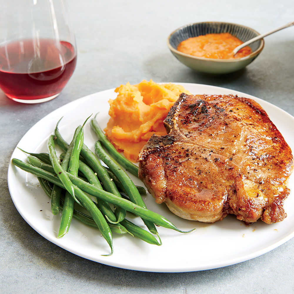 Moroccan-Spiced Pork Chops & Mashed Sweet Potatoes Recipe ...