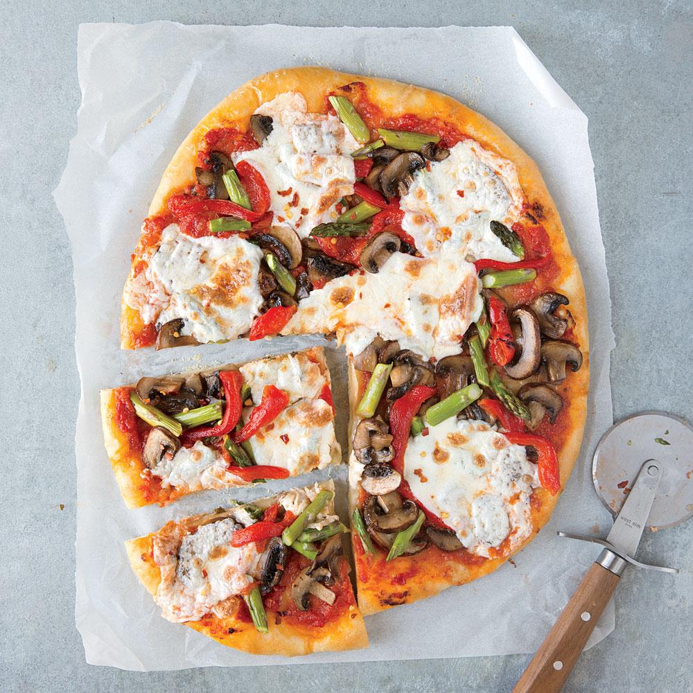 Mushroom, Asparagus, & Roasted Red Pepper Pizza Recipe | MyRecipes