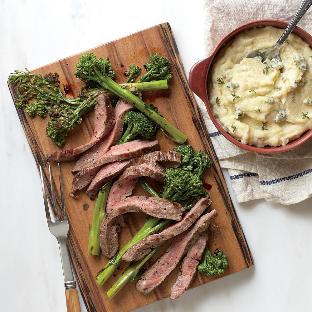 Seared Flank Steak with Blue Cheese Polenta
