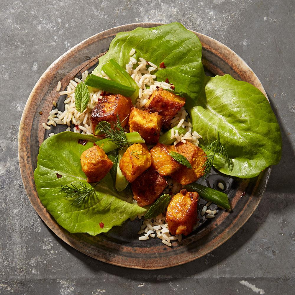 Stir-Fried Tilapia, Dill, and Scallion Lettuce Wraps