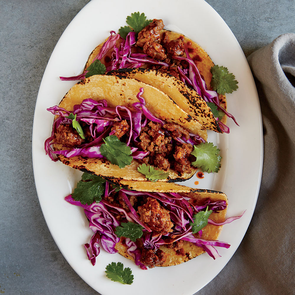 Beef Chorizo Tacos with Cabbage Slaw