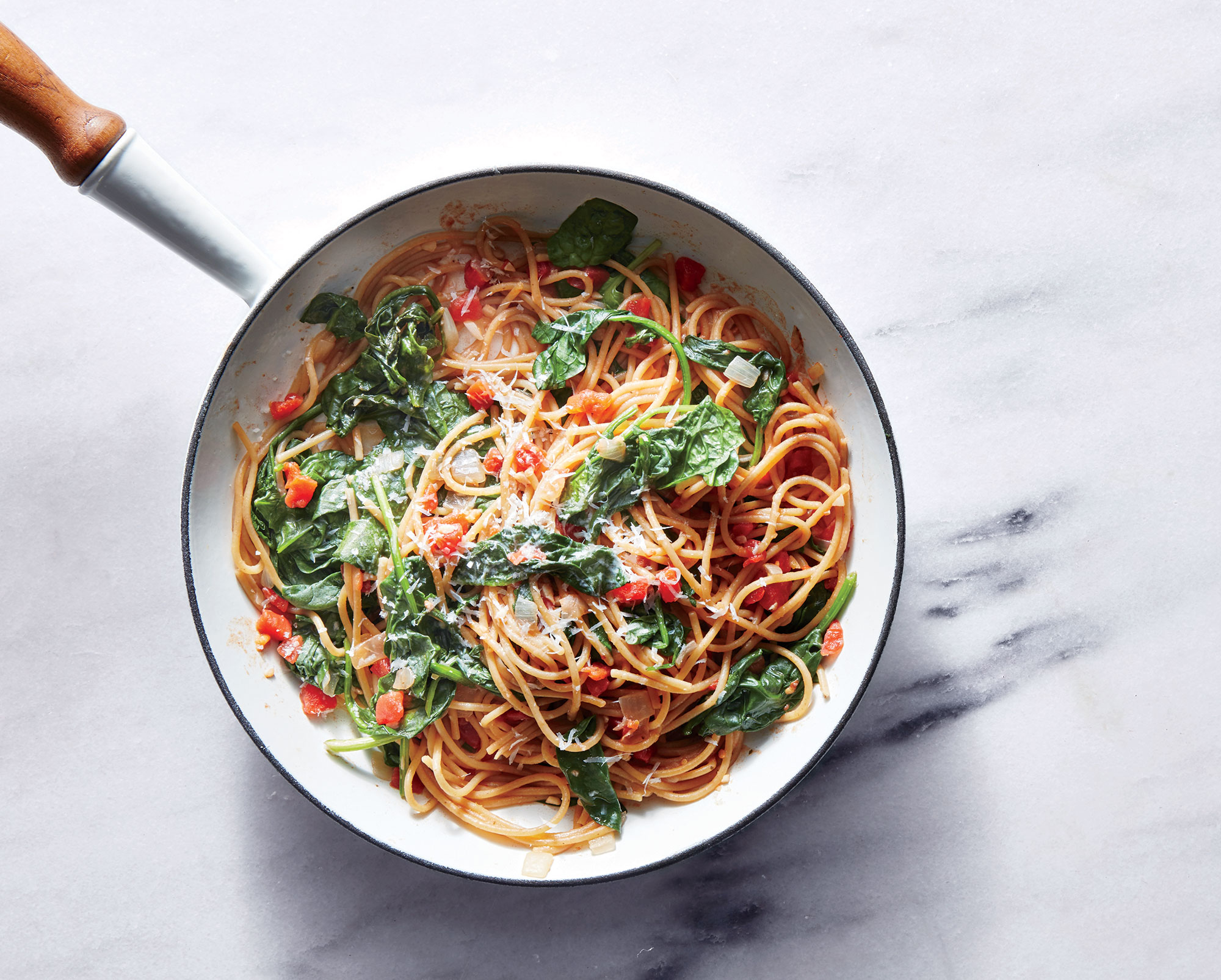 One-Pot Pasta with Spinach and Tomatoes Recipe | MyRecipes