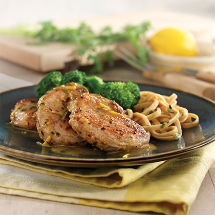 Sauteed Pork Tenderloin Medallions with Lemon Garlic Sauce