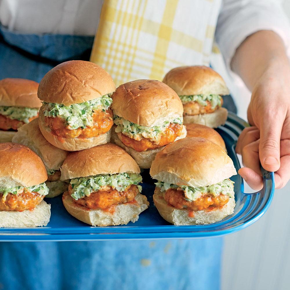 Buffalo Chicken Sliders with Celery-Ranch Slaw Recipe | MyRecipes