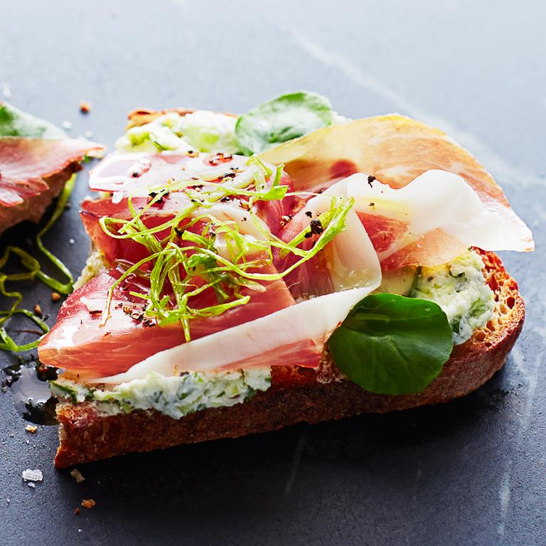 Green Garlic Prosciutto Toasts