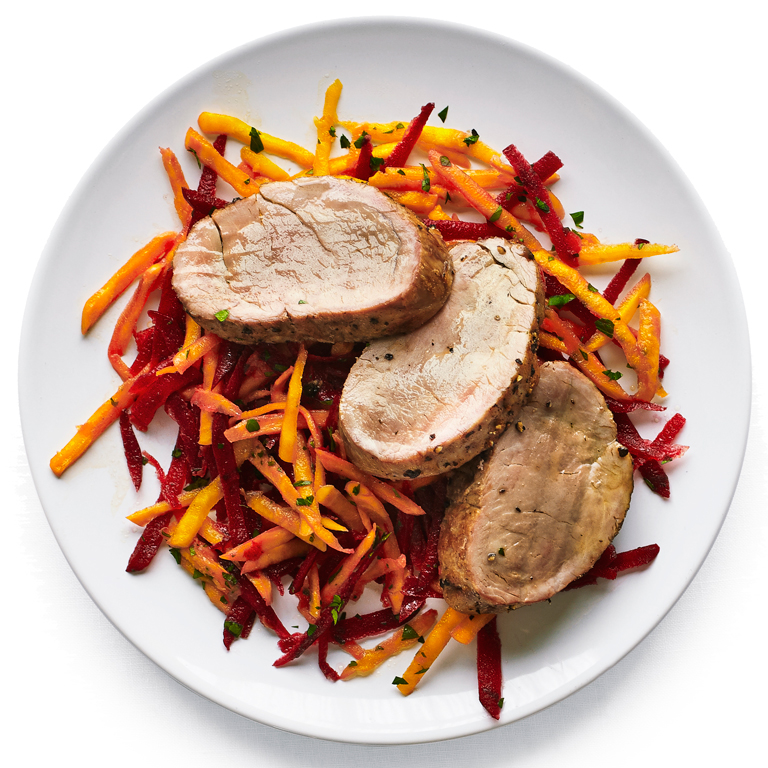 Pork Tenderloin with Crunchy Beet Slaw
