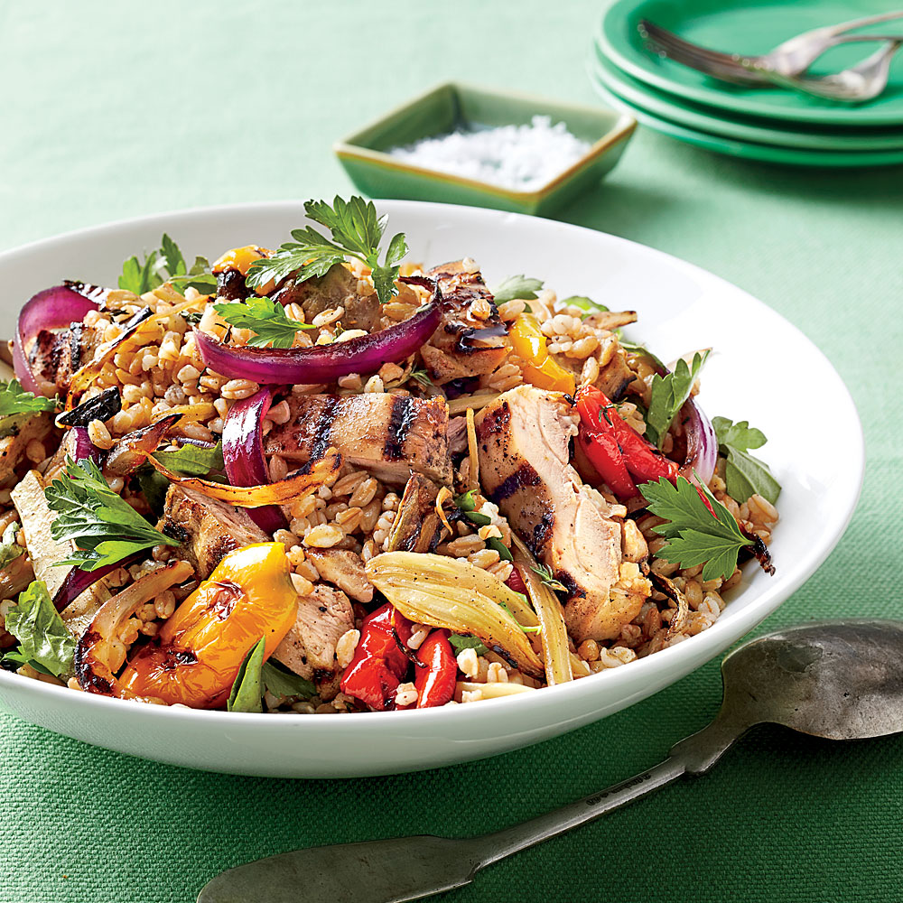 Chicken, Farro, and Vegetable Salad with Lemon Vinaigrette