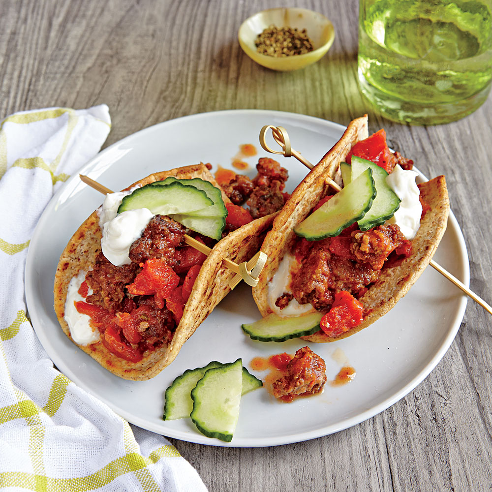 Beef Flatbread Tacos with Cucumber and Yogurt Sauce