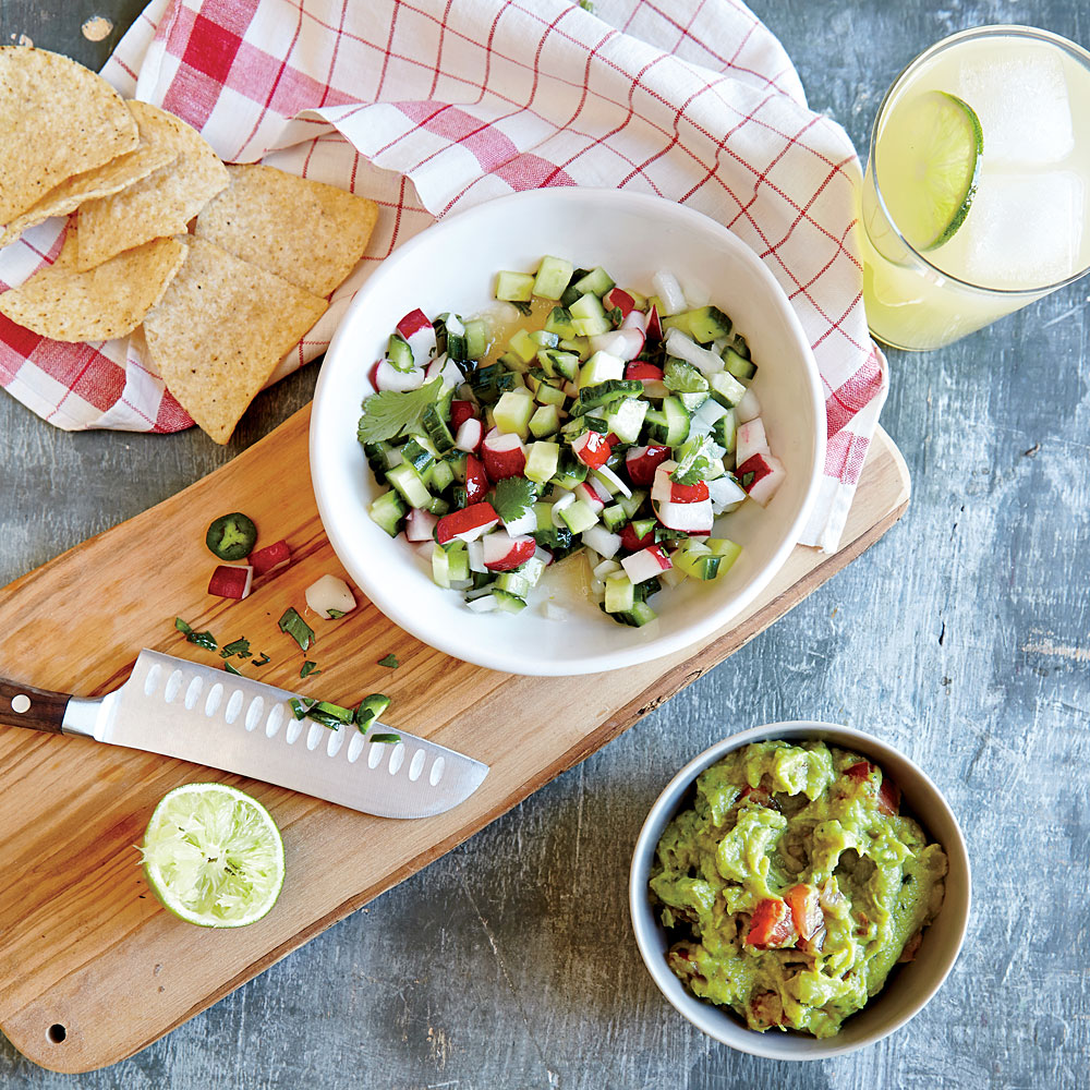 Cucumber and Radish Pico de Gallo                            RecipeChop your veggies finely enough so the pico hangs together in a spoonful.