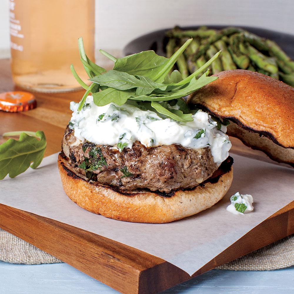 Lamb Burgers with Feta-Mint Spread Recipe | MyRecipes