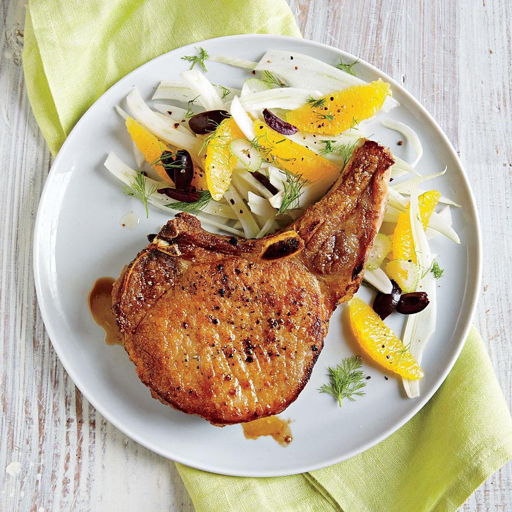 Pork Chops with Fennel, Orange, and Olive Salad