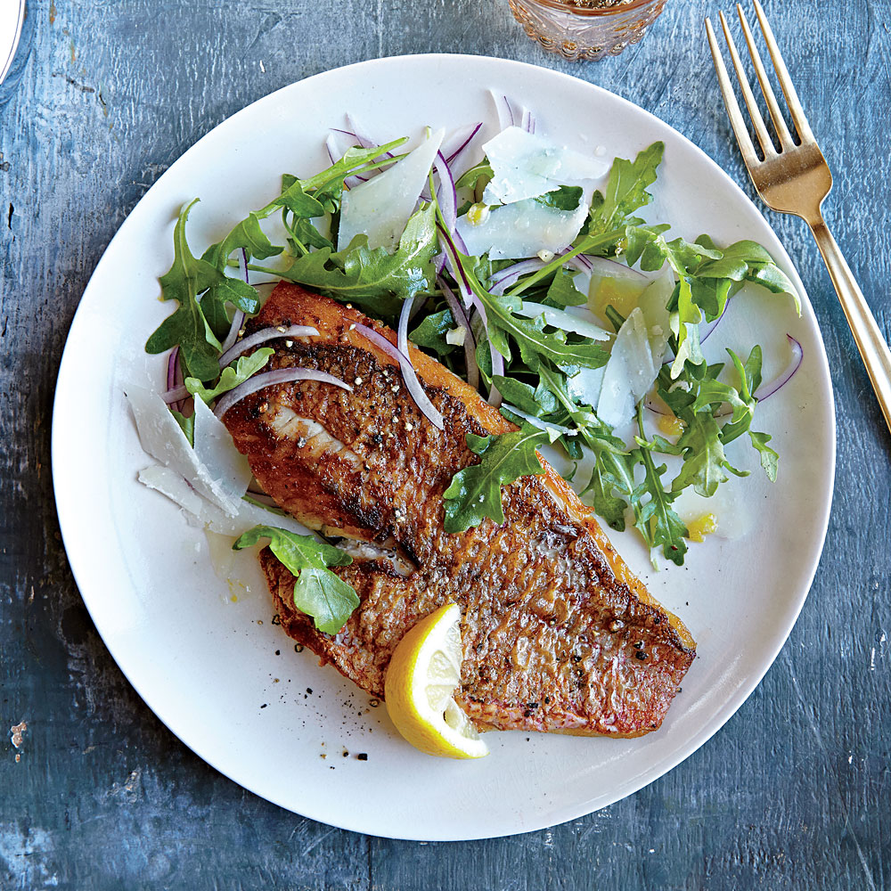 Red Snapper with Arugula Salad