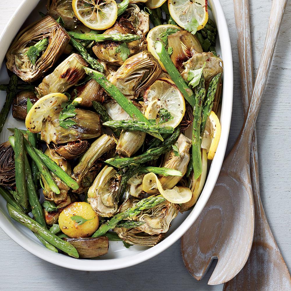 Roasted Asparagus and Baby Artichokes Recipe | MyRecipes