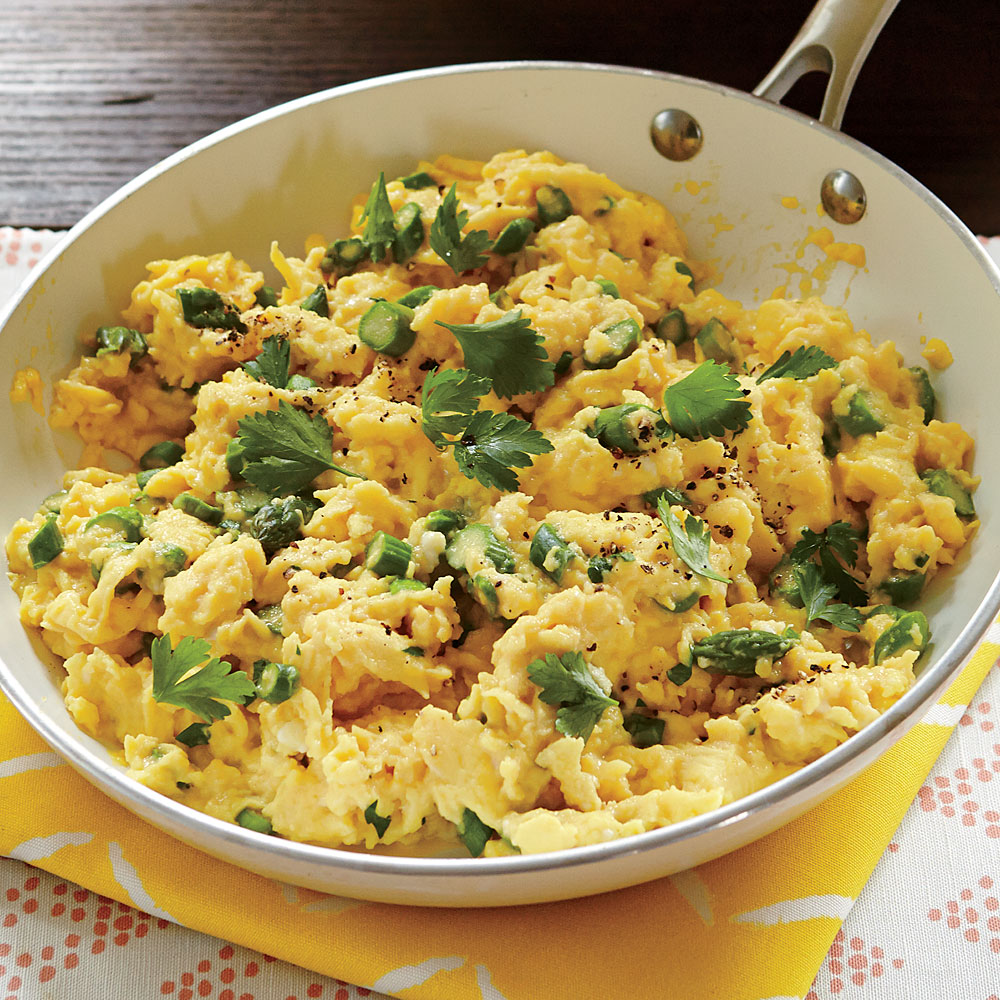 Soft-Scrambled Eggs with Asparagus Recipe | MyRecipes
