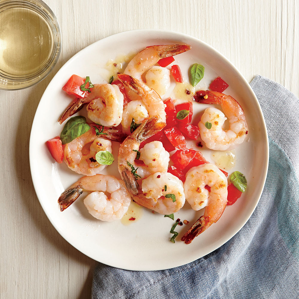 Spicy Tomato-Basil Shrimp