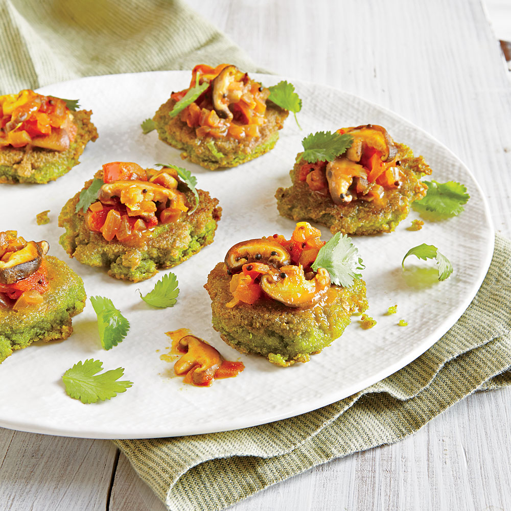 Split Pea Mini Pancakes with Mushroom Relish