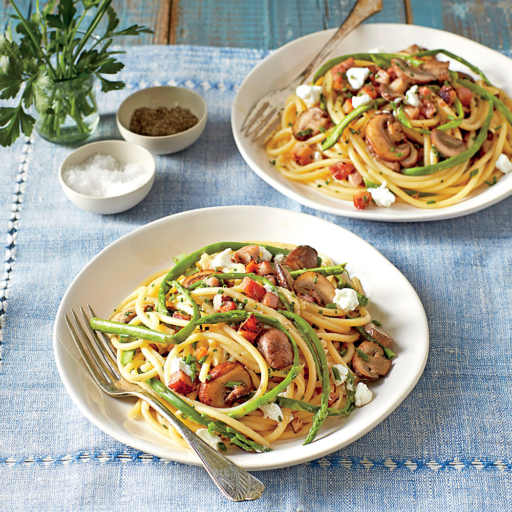 Bucatini, Ham, and Asparagus