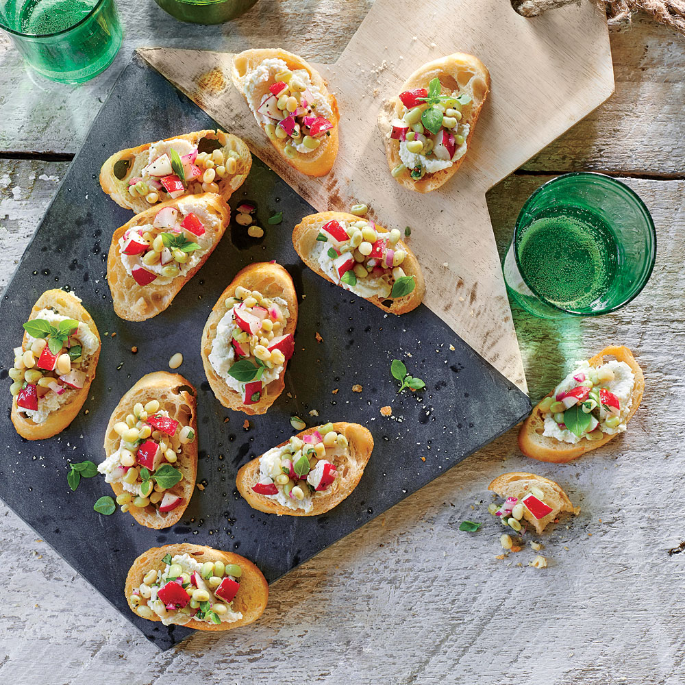 Field Pea-and-Radish Crostini