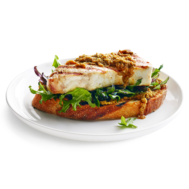 Grilled Swordfish Toasts with Lemon-Olive Tapenade