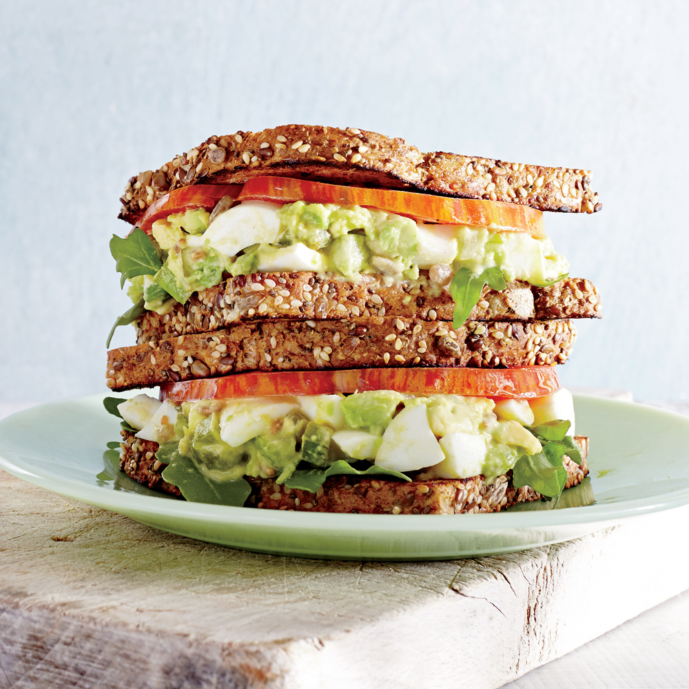 Avocado-Egg Salad sandwiches with Pickled Celery Recipe | MyRecipes