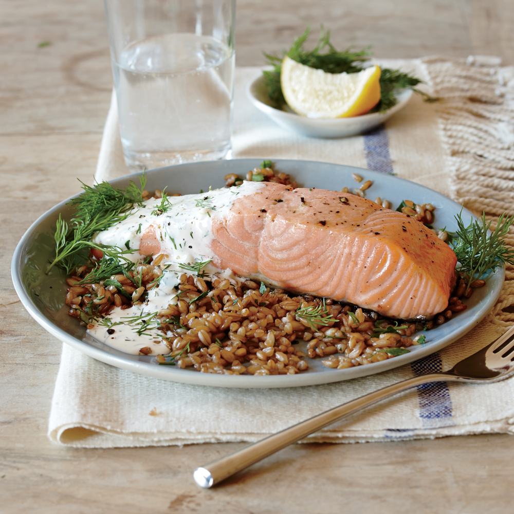 Broiled Salmon with Creamy Lemon-Dill Sauce Recipe | MyRecipes