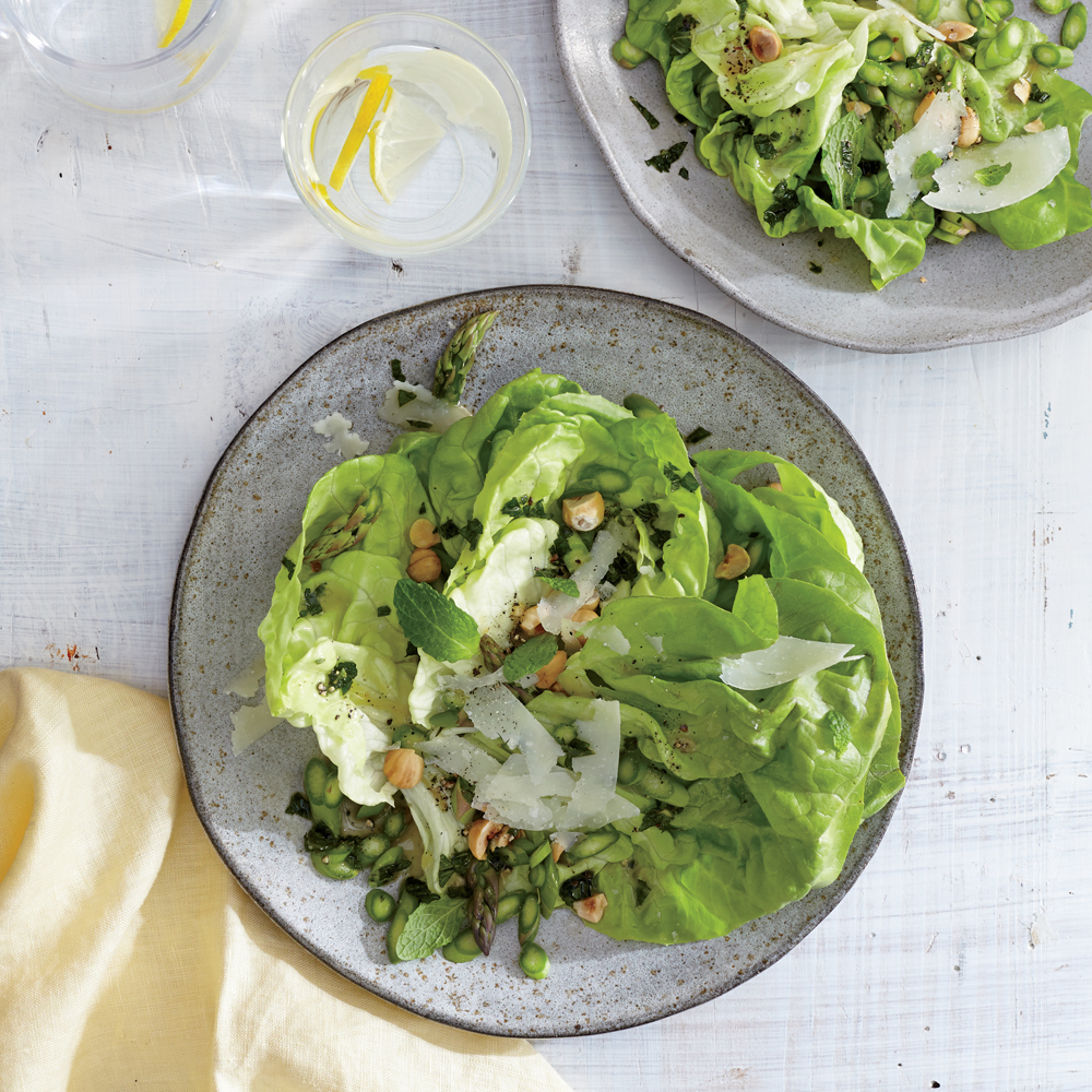 Butter Lettuce, Asparagus, and Hazelnut Salad
