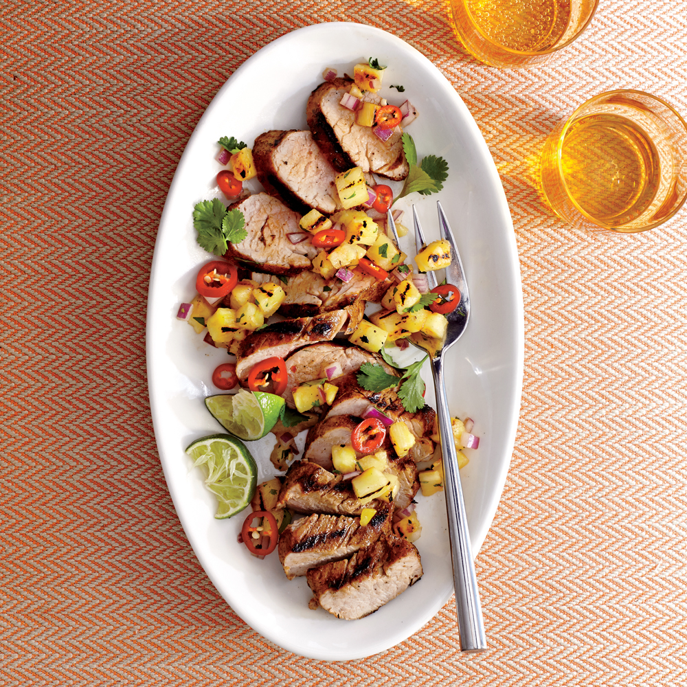 Caribbean Grilled Pork Tenderloin & Grilled Pineapple Salsa Recipe ...