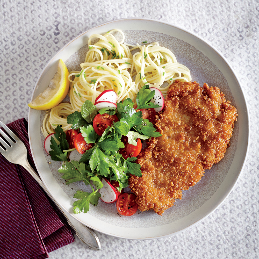 Crispy Chicken Cutlets With Butter-Chive Pasta Recipe