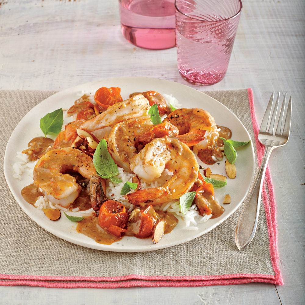 Curried Shrimp and Melted Cherry Tomatoes Recipe | MyRecipes