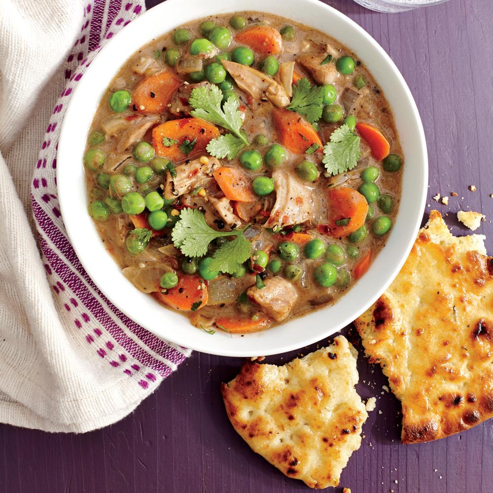 Quick chicken vegetable curry with garlic naan recipe myrecipes - Herve cuisine butter chicken ...