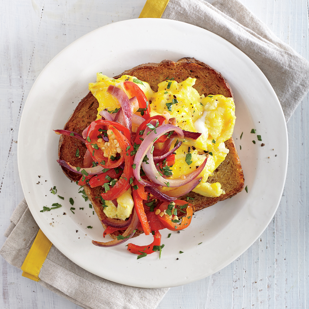 Sweet and Hot Pepper Open-Faced Egg Sandwiches