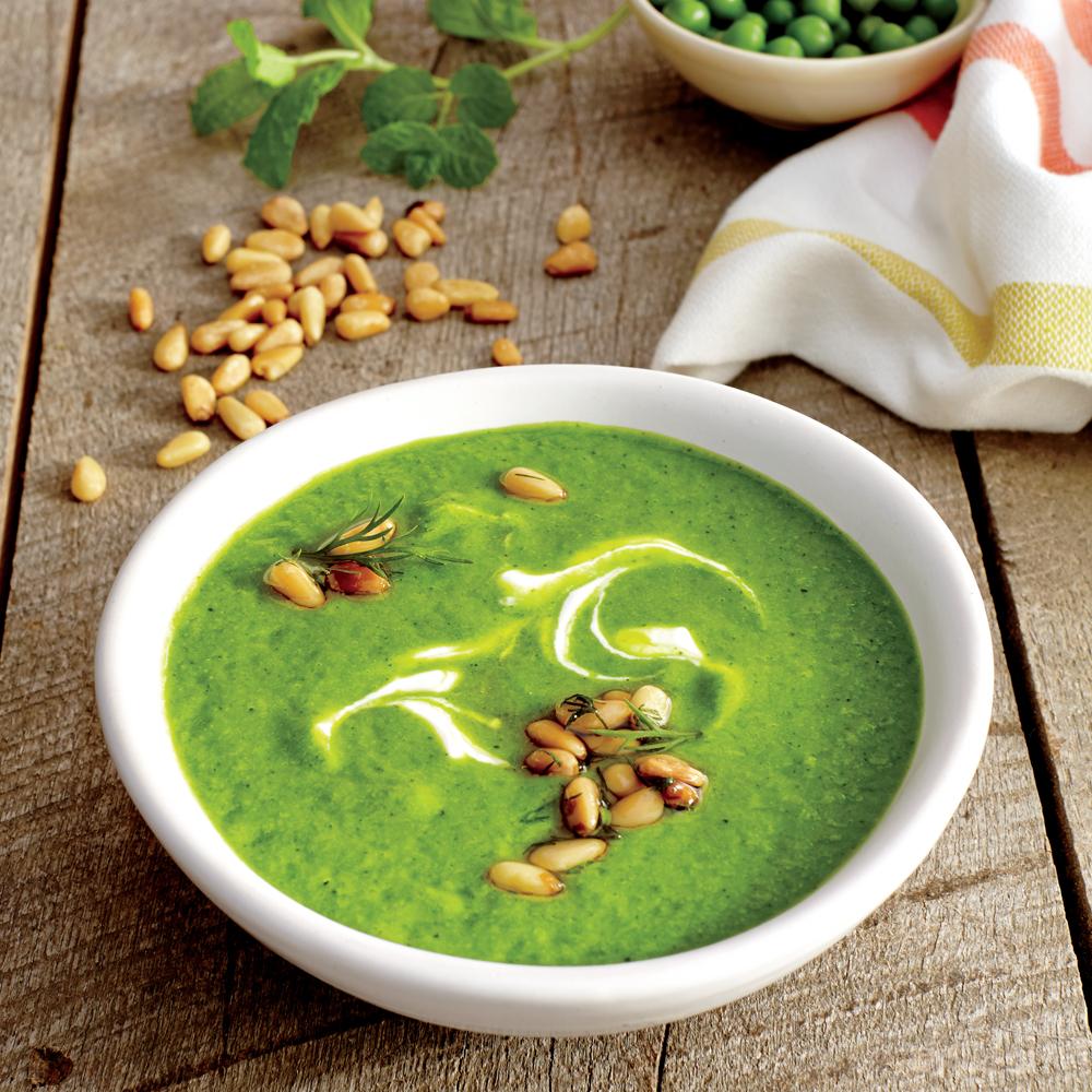 Sweet Pea Soup with Yogurt and Pine Nuts